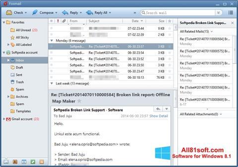 Снимка на екрана FoxMail за Windows 8.1