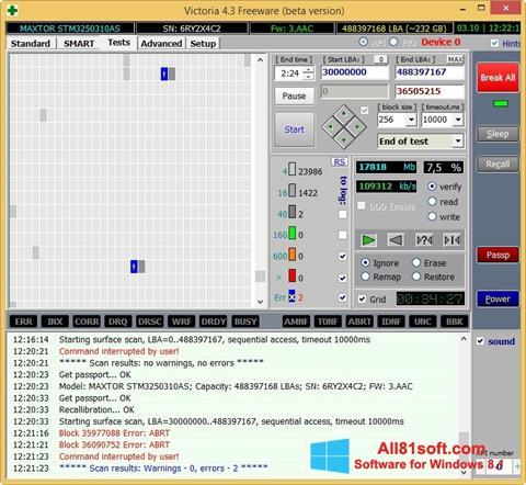 Снимка на екрана Victoria за Windows 8.1
