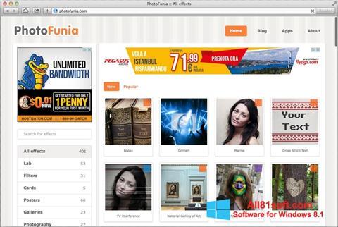Снимка на екрана PhotoFunia за Windows 8.1