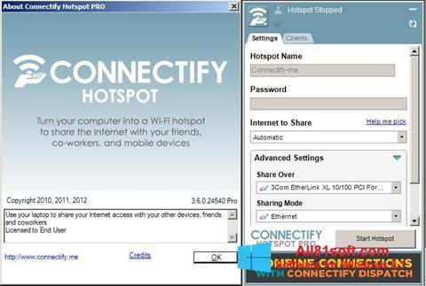 Снимка на екрана Connectify за Windows 8.1