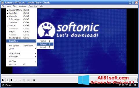 Снимка на екрана Media Player Classic за Windows 8.1