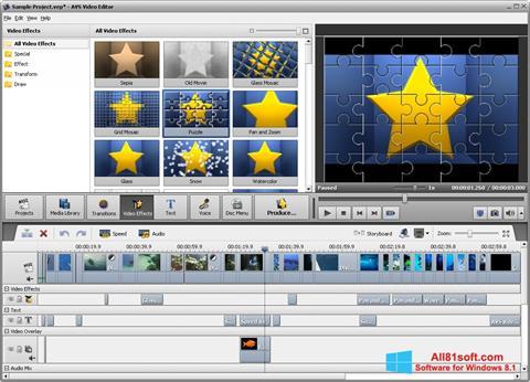 Снимка на екрана AVS Video Editor за Windows 8.1