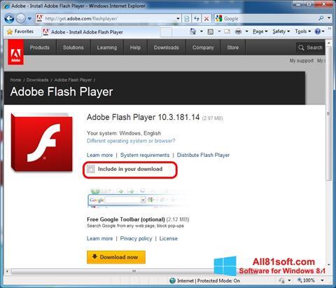 Снимка на екрана Adobe Flash Player за Windows 8.1