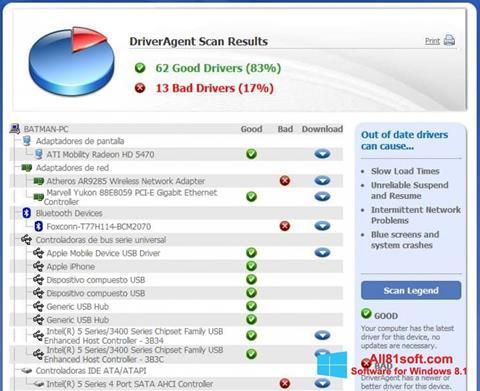 Снимка на екрана DriverAgent за Windows 8.1