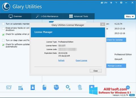 Снимка на екрана Glary Utilities за Windows 8.1