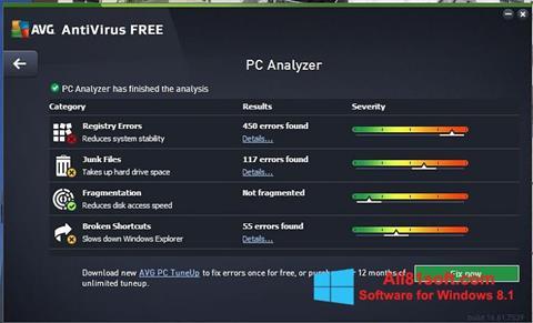 Снимка на екрана AVG AntiVirus Free за Windows 8.1