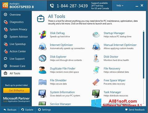 Снимка на екрана Auslogics BoostSpeed за Windows 8.1
