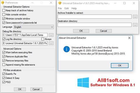 Снимка на екрана Universal Extractor за Windows 8.1