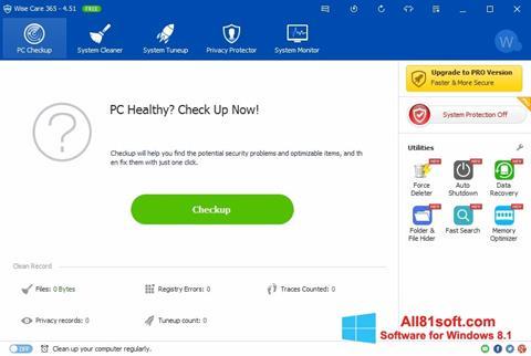 Снимка на екрана Wise Care 365 за Windows 8.1