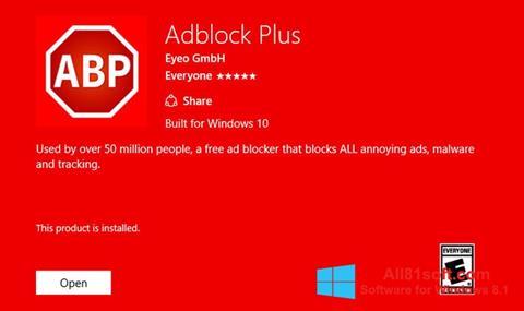 Снимка на екрана Adblock Plus за Windows 8.1