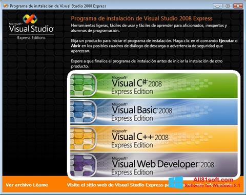 Снимка на екрана Microsoft Visual Studio за Windows 8.1