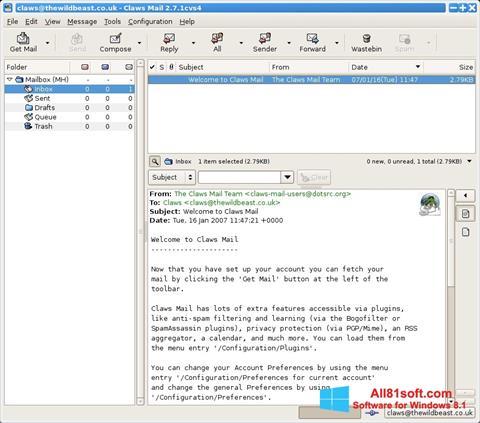 Снимка на екрана Claws Mail за Windows 8.1