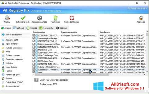 Снимка на екрана Vit Registry Fix за Windows 8.1