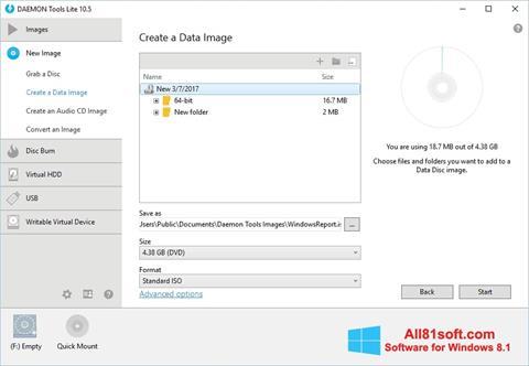 Снимка на екрана DAEMON Tools Lite за Windows 8.1