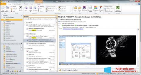 Снимка на екрана Microsoft Outlook за Windows 8.1