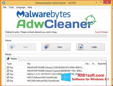 Снимка на екрана AdwCleaner за Windows 8.1