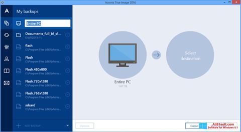Снимка на екрана Acronis True Image за Windows 8.1