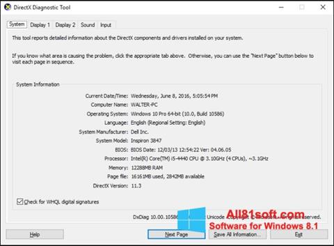 Снимка на екрана DirectX за Windows 8.1