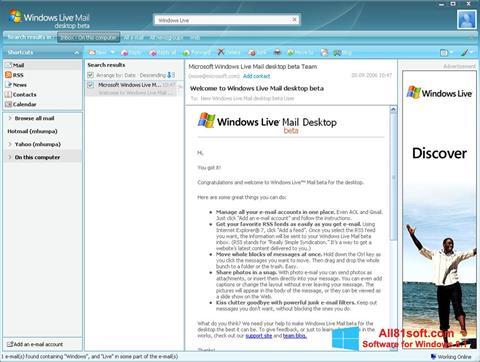 Снимка на екрана Windows Live Mail за Windows 8.1