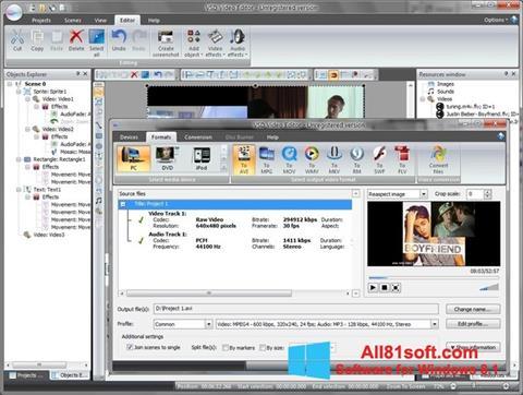 Снимка на екрана Free Video Editor за Windows 8.1