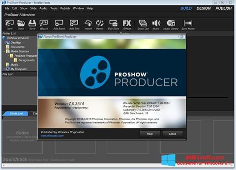 Снимка на екрана ProShow Producer за Windows 8.1