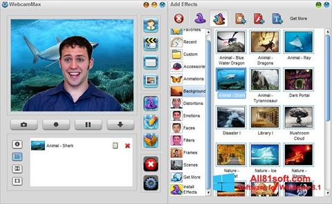 Снимка на екрана WebcamMax за Windows 8.1