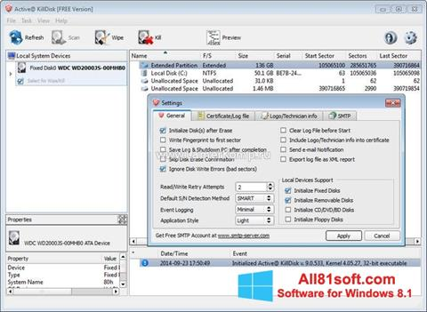 Снимка на екрана Active KillDisk за Windows 8.1