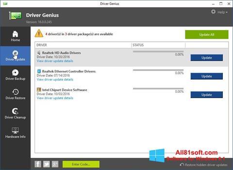Снимка на екрана Driver Genius за Windows 8.1