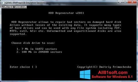 Снимка на екрана HDD Regenerator за Windows 8.1