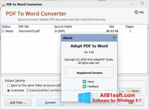 Снимка на екрана PDF to Word Converter за Windows 8.1
