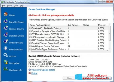 Снимка на екрана Driver Genius Professional за Windows 8.1