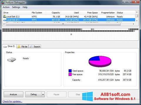 Снимка на екрана Defraggler за Windows 8.1