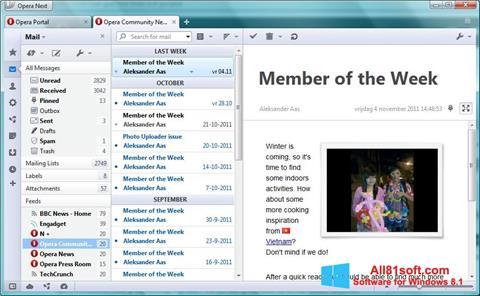Снимка на екрана Opera Mail за Windows 8.1