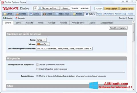 Снимка на екрана Zimbra Desktop за Windows 8.1